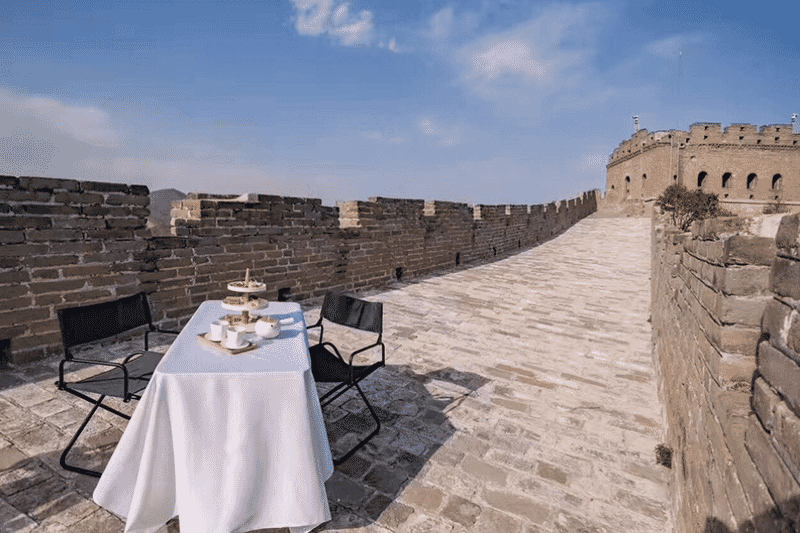 Breakfast on the Great Wall of China